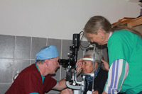 Dr. Holland Conducting and Eye Exam