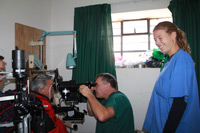 Dr. Schultz doing Keratometry (Measuring-the-Cornea) in Preparation for Cataract Surgery