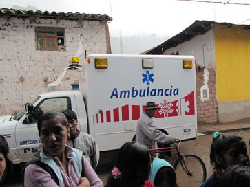 An ambulance brings some of the car accident victims to the Clinic.