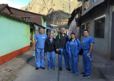 Arqile Zeqo, Emma Hershey,Dr .Mark Hershey, Melisa Phan, and Robert Hoffman on their way to the Clinic Early One Morning