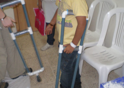 Boy with PVC Crutches