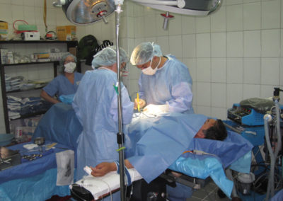 Dr. Chahal Repairing a Patients Inguinal Hernia with Heather Horan, RN, Assisting and Sheila McMullin, RN, Circulating