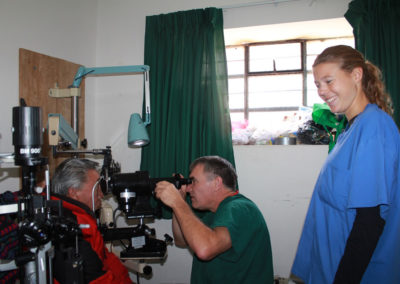 Dr. Schultz doing Keratometry (Measuring the Cornea) in Preparation for Cataract Surgery