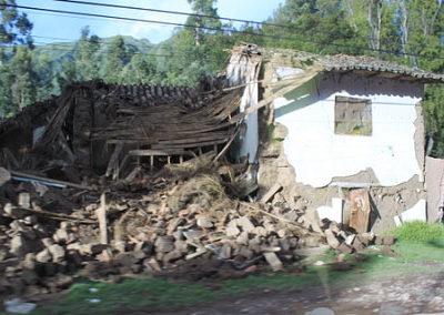 Houses are demolished.