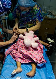 Kiara getting ready for a corrective club foot surgery