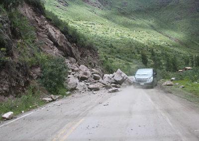 Landslides impede traffic.