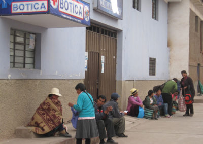 Patients and Family Members Waiting Outside the Clinic