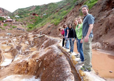 Salt water comes from a natural spring is channeled to several individual owned terraces...