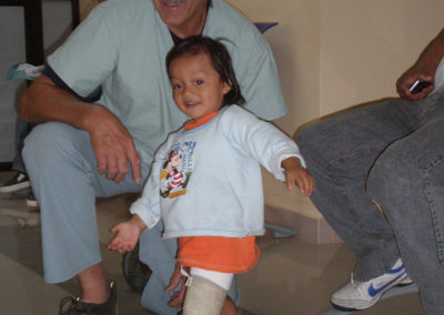 Small child with brace