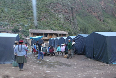 Temporary shelters are set up for people who had their homes ruined.