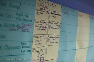 The Saturday surgery schedule is posted.